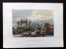 Allom China 1847 Hand Col Print. Scene in the Suburbs of Ting-Hae